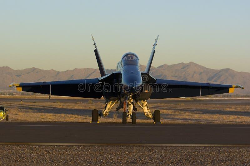 唯一天使的蓝色的喷气式飞机 库存图片