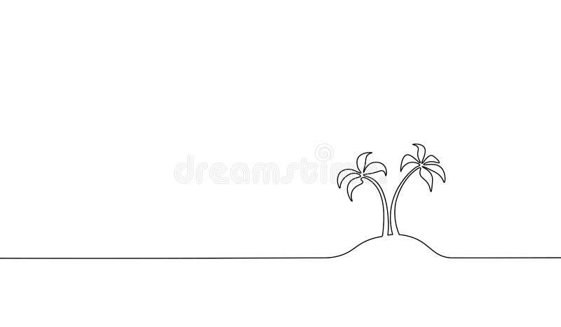 唯一实线艺术椰子树棕榈 热带天堂海岛风景设计一剪影外形图传染媒介 向量例证