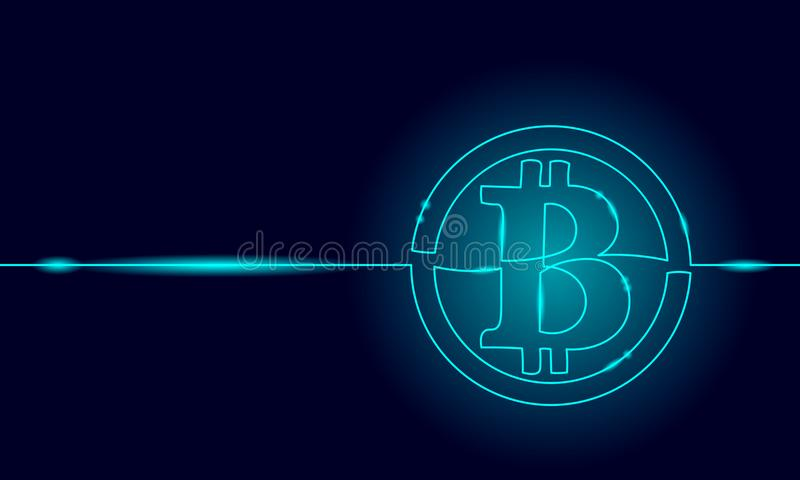 唯一实线艺术bitcoin cryptocurrency剪影 Blockchain现代财务国际银行技术 库存例证
