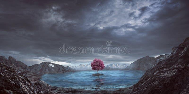 唯一树和湖 免版税图库摄影