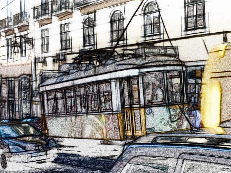 唯一汽车黄色电车被追踪的例证剪影在有居民住房的里斯本在背景中 皇族释放例证