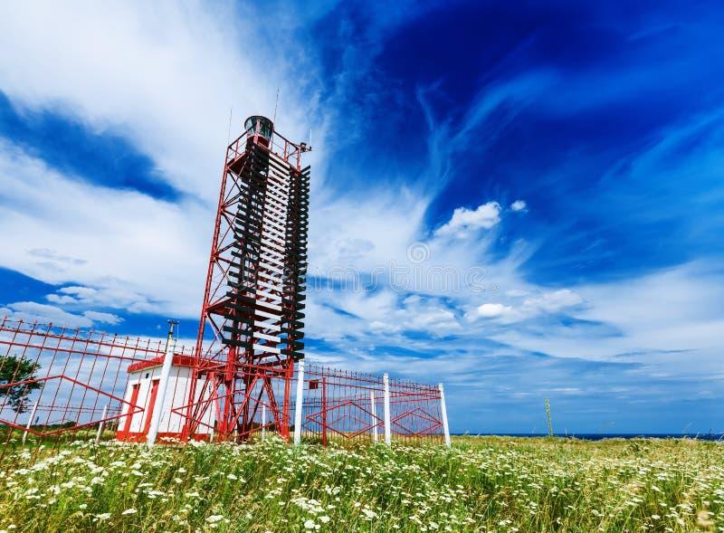 唯一红色灯塔 免版税库存图片