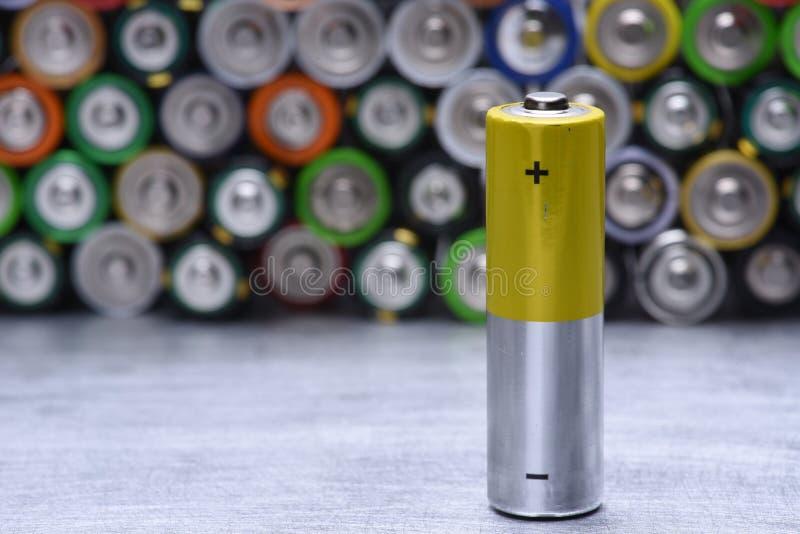 唯一老碱性电池 库存图片