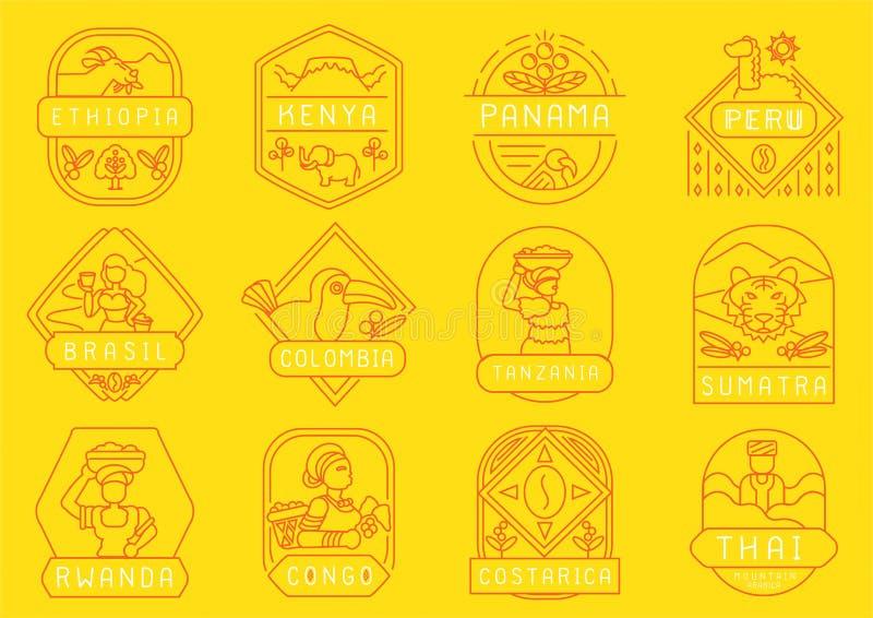 唯一起源咖啡农厂线徽章设计 向量例证