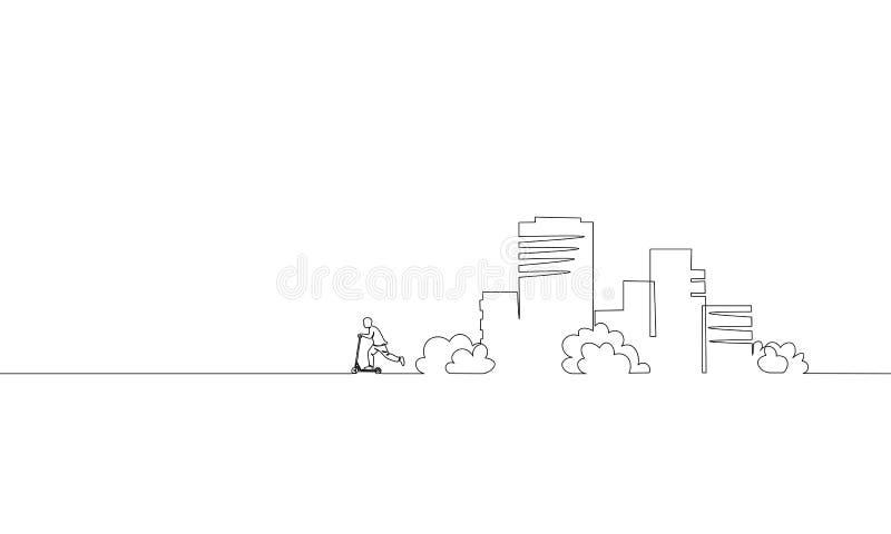 唯一连续的一线艺术城市大厦骑马滑行车 建筑学建筑房子都市公寓都市风景 向量例证