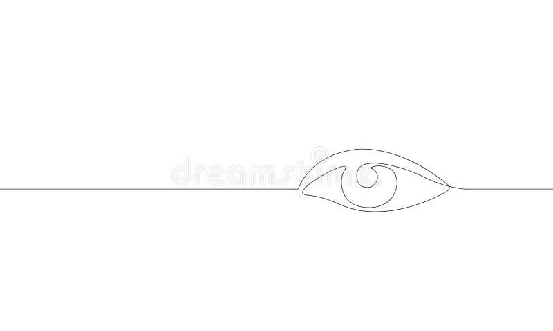 唯一连续的一线艺术女性手表眼睛 发廊妇女女孩视域构思设计剪影外形图 库存例证
