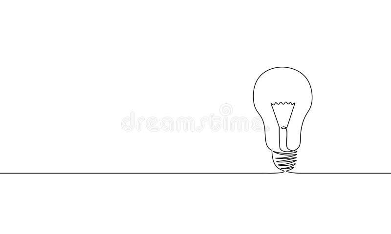 唯一连续的一线艺术想法电灯泡 创造性的解答团队工作灯构思设计剪影外形图 库存例证