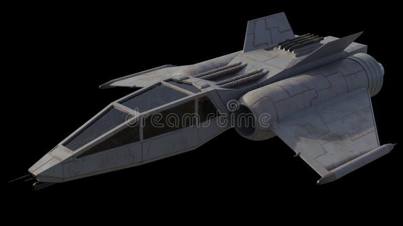 唯一Seater星战斗机太空飞船,前面角度图 免版税库存图片