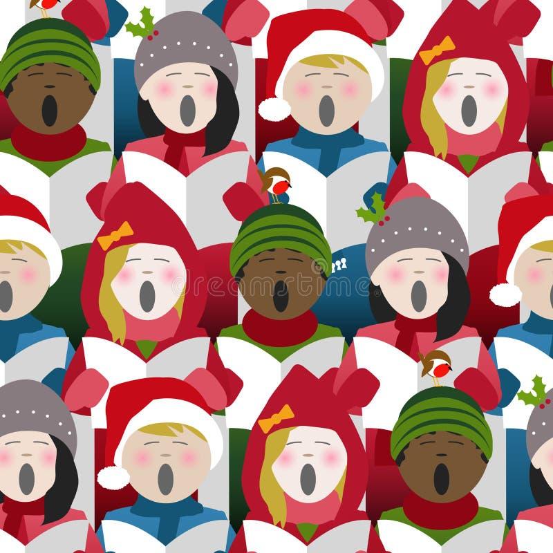 唱圣诞节的孩子颂歌无缝的背景 向量例证
