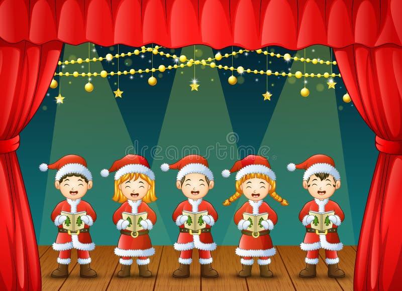 唱圣诞节的小组孩子在阶段颂歌 向量例证