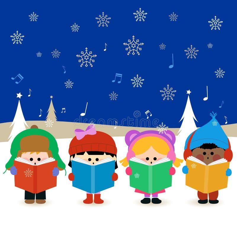 唱圣诞节颂歌的孩子 向量例证
