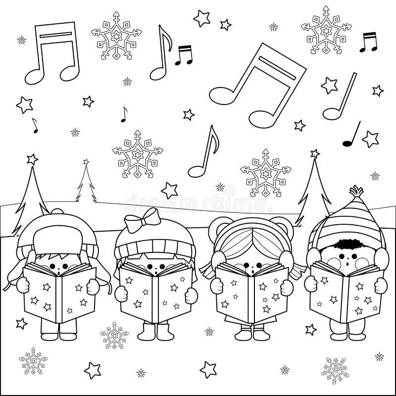 唱圣诞节颂歌的小组孩子 向量例证