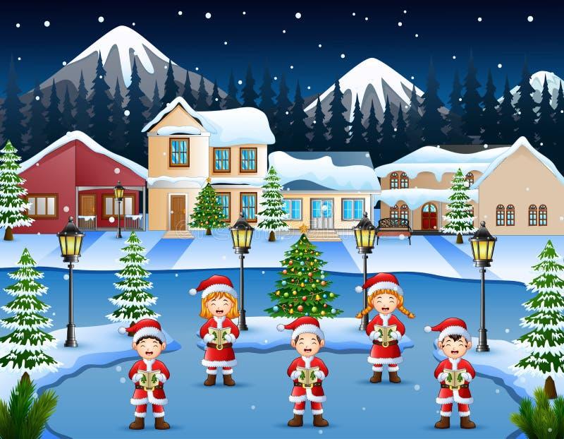 唱在冬天夜风景的愉快的孩子圣诞节颂歌 库存例证