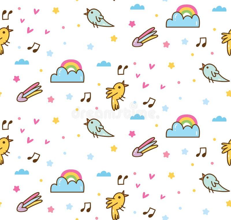 唱无缝的背景的动画片鸟 库存例证