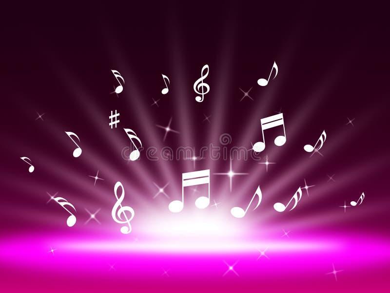 唱曲调和流行音乐的紫色音乐Backgrond展示 向量例证
