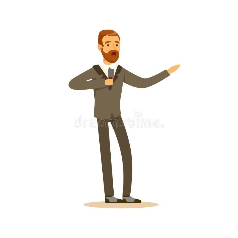 唱歌与话筒传染媒介例证的优美装扮的男性歌剧歌手 皇族释放例证