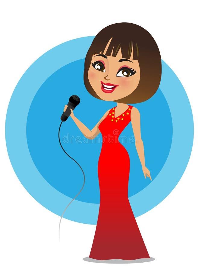 唱歌与mic的一名美丽的美国欧洲妇女手中-传染媒介 免版税库存照片