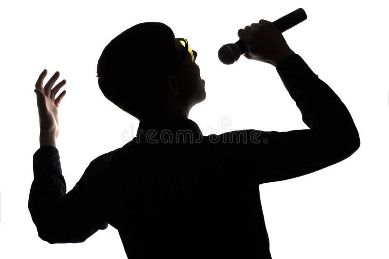 唱歌入话筒的艺术家的音乐会 免版税库存照片