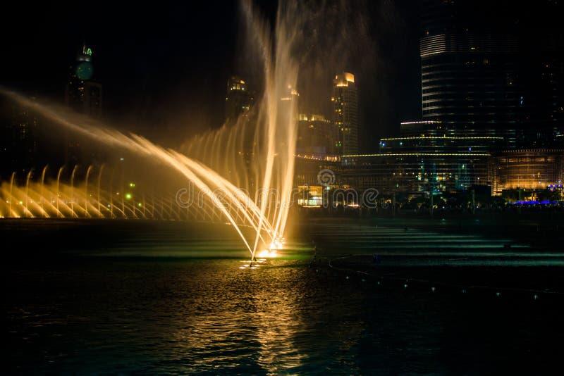 唱歌喷泉在迪拜 免版税图库摄影