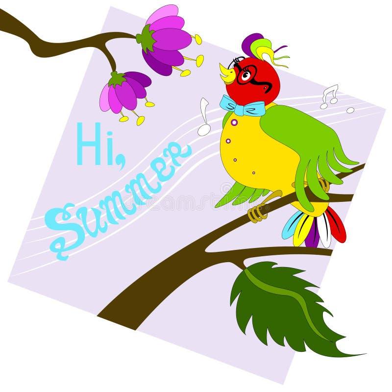 唱歌在分支的五颜六色的鸟 淡紫色背景 皇族释放例证