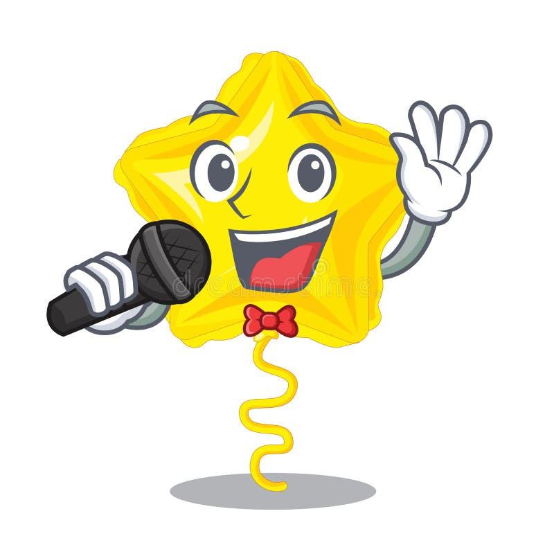 唱歌在动画片形状的星气球 向量例证