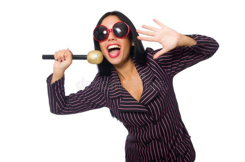 Download 唱歌在卡拉OK演唱俱乐部的妇女隔绝在whie 库存照片. 图片 包括有 女性, 女孩, 执行, 有吸引力的 - 72366658