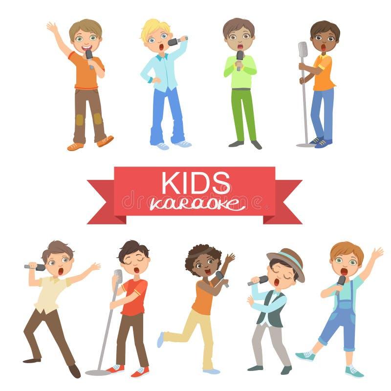 唱歌在卡拉OK演唱的年轻男孩 皇族释放例证