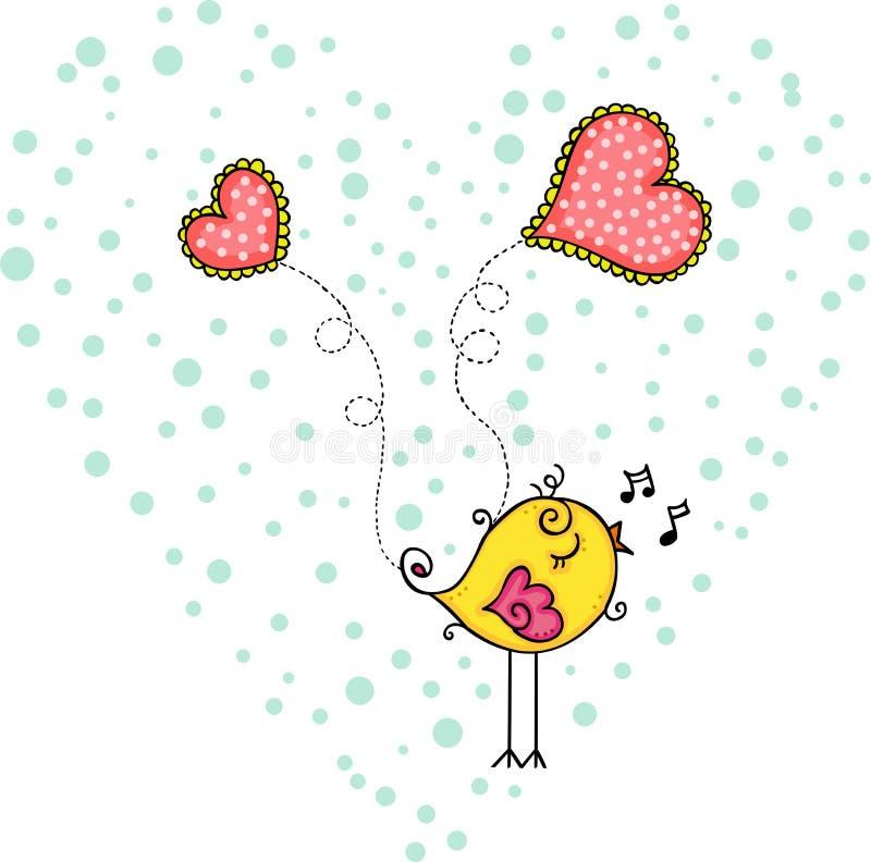 唱歌在心脏里面的黄色鸟 库存例证