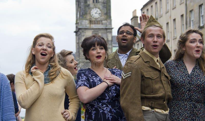 唱歌在爱丁堡 免版税图库摄影