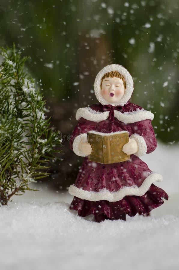 唱歌在雪秋天 免版税库存图片