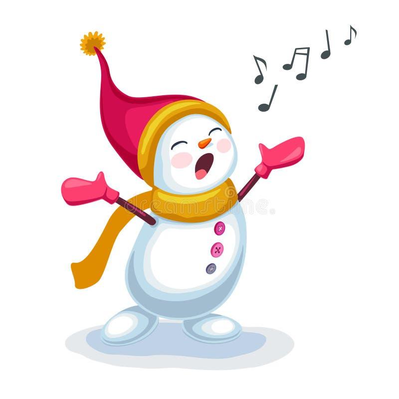 唱歌曲的逗人喜爱的雪人隔绝在白色背景 皇族释放例证