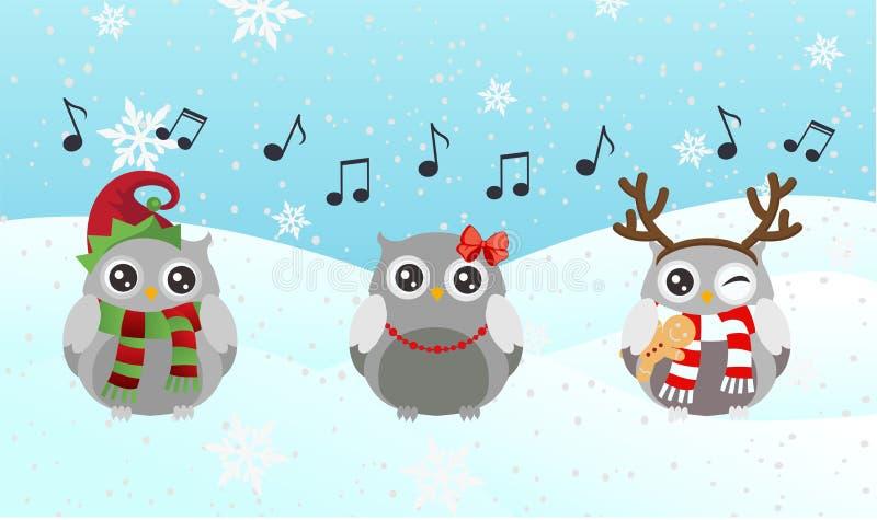 唱歌猫头鹰 圣诞快乐和新年好 向量例证