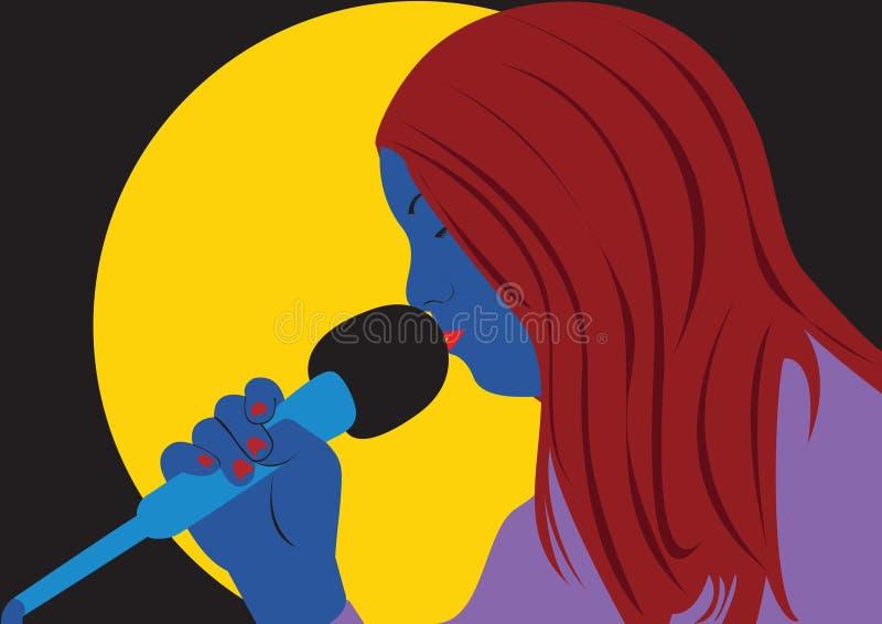 唱歌的妇女 向量例证