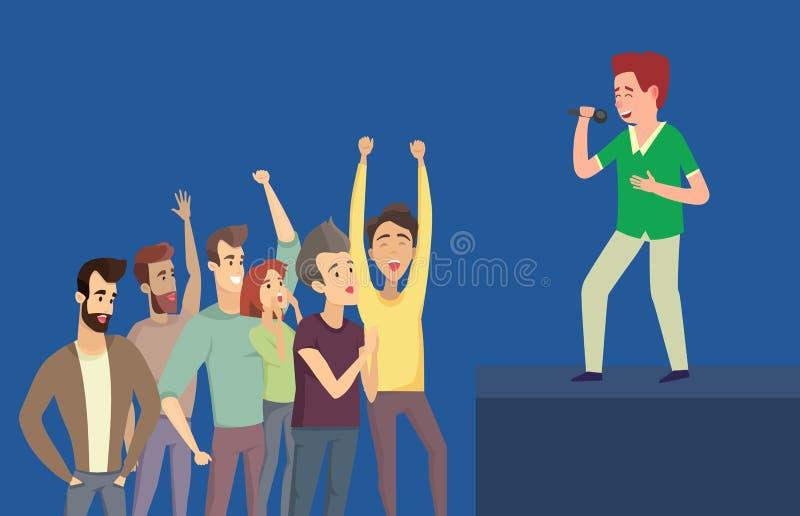 唱歌的男孩和听众蓝色侧视图传染媒介的 皇族释放例证