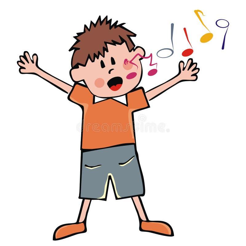唱歌的男孩,传染媒介象 库存例证