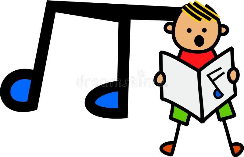 唱歌的男孩 向量例证