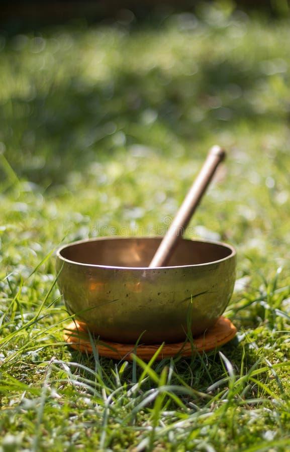 唱歌碗在自己的庭院里,禅宗户外 库存照片