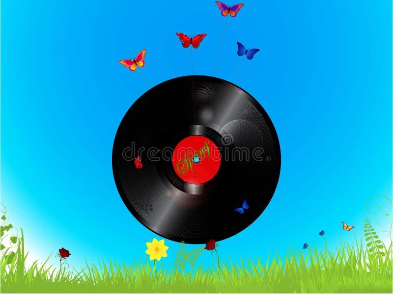 唱片和蝴蝶背景 向量例证