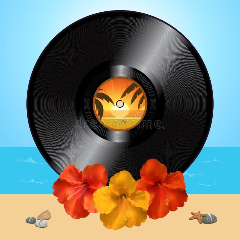 唱片圆盘和木槿在夏天背景 皇族释放例证