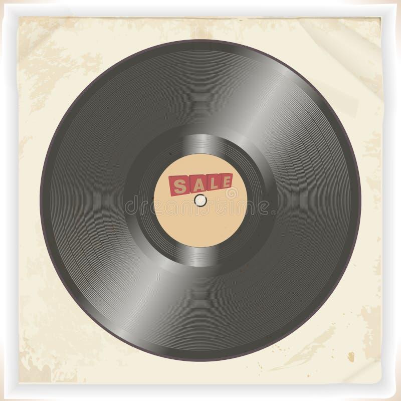 唱片在葡萄酒背景的销售标签 皇族释放例证