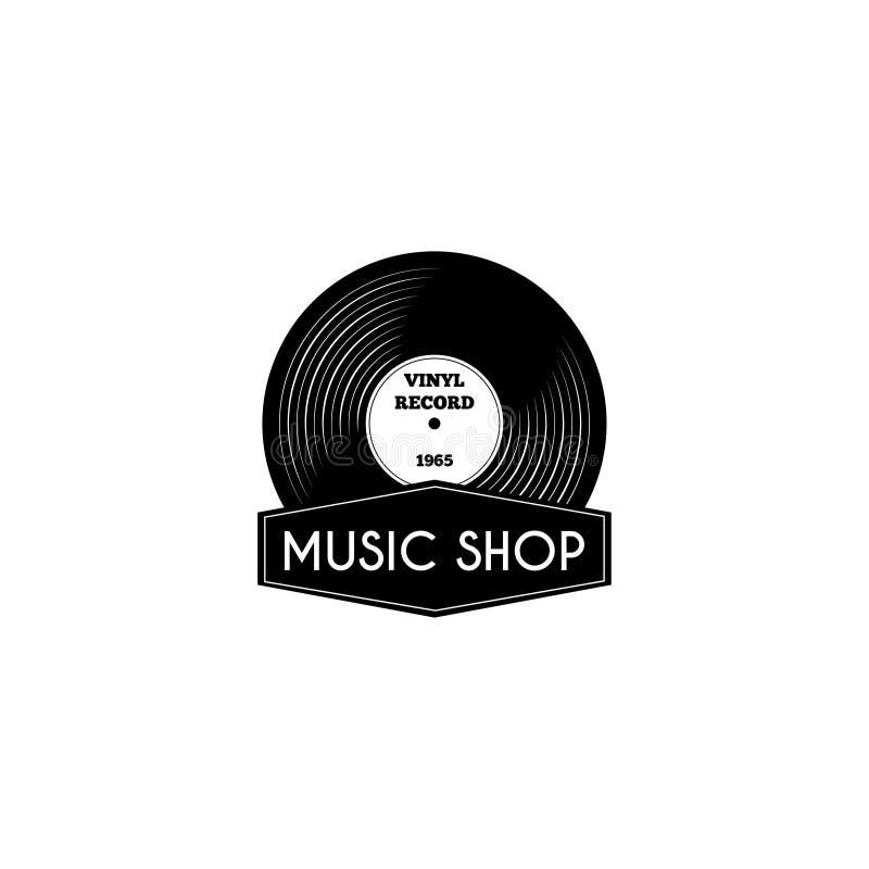 唱片象 音乐商店商标标签象征 减速火箭的乙烯基 向量 库存例证