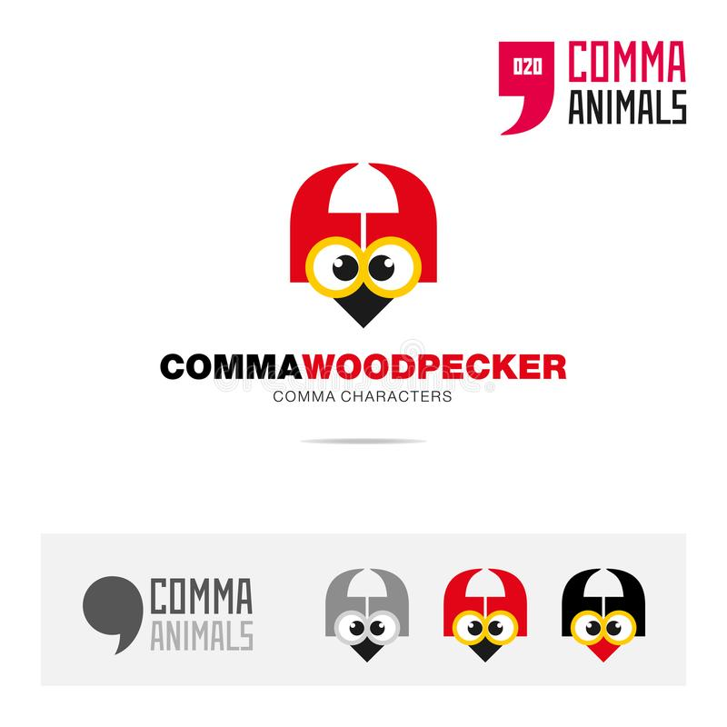 啄木鸟动物概念象集合和现代品牌身份商标模板和根据逗号的app标志签字 库存例证