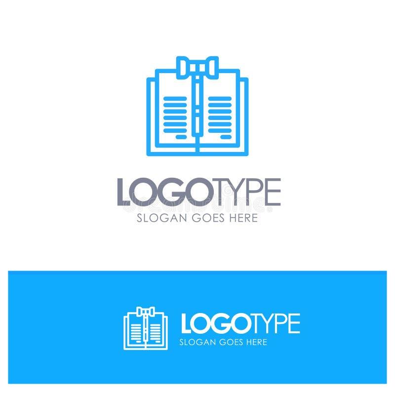商业、版权、数字、法律、记录Blue outLine徽标,带有标记线的位置 库存例证