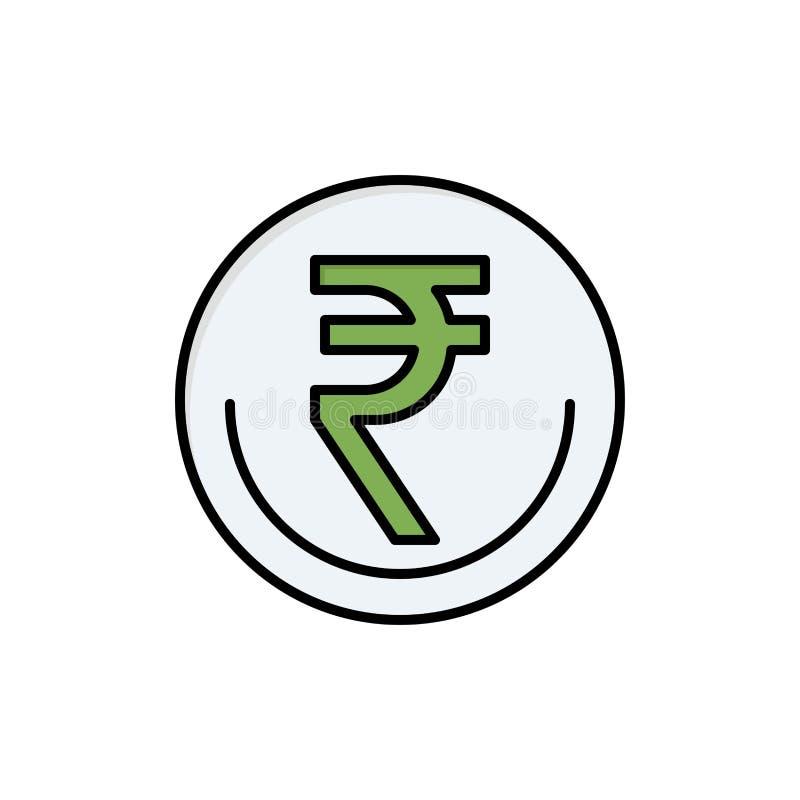 商业、货币、金融、印度、印度卢比、卢比、交易平整颜色图标 矢量图标横幅模板 皇族释放例证