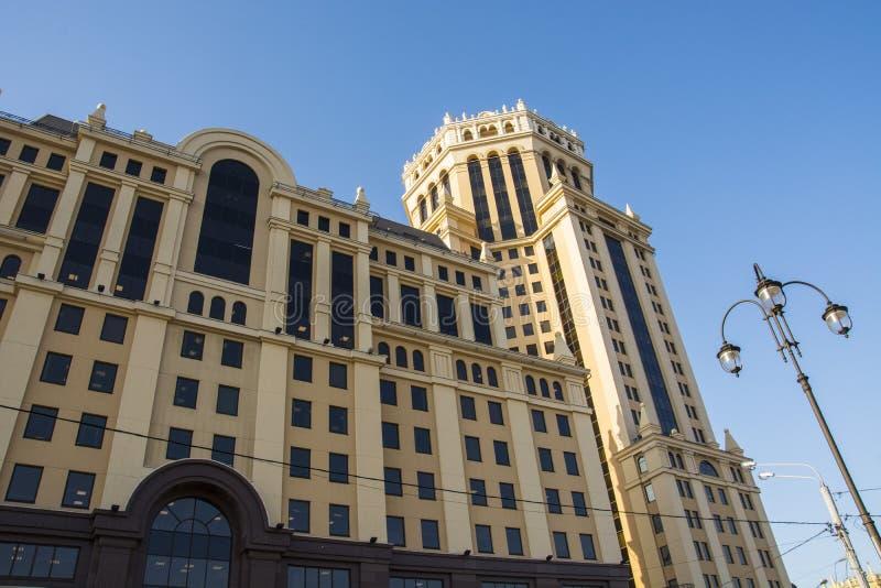 商业中心Paveletskaya塔Paveletskaya广场,在2003年在Paveletskaya广场被修造了 免版税库存图片