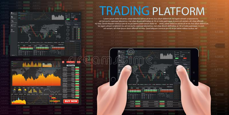 商业仪表板,市场贸易 二进制选择 贸易的平台,帐户 按电话和胜利交易 库存例证
