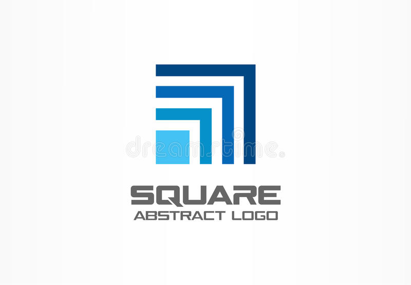 商业公司的抽象商标 公司本体设计元素 技术正方形,网络,开户成长 皇族释放例证