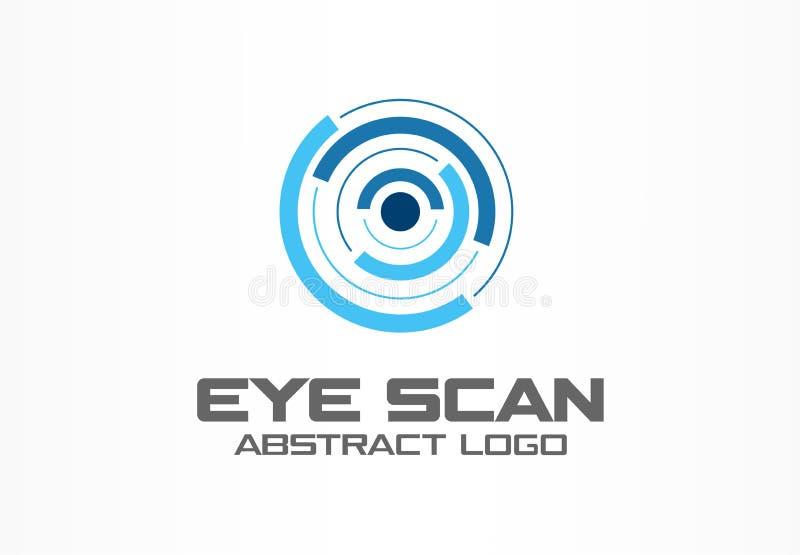 商业公司的抽象商标 公司本体设计元素 视网膜圈子扫描器,个性眼睛 向量例证
