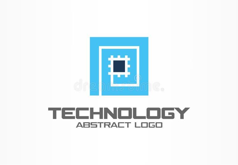 商业公司的抽象商标 公司本体设计元素 CPU,处理器,芯片,主板略写法想法 皇族释放例证