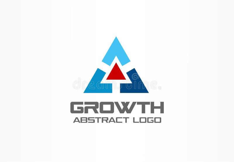 商业公司的抽象商标 技术,工业,市场略写法想法 红色箭头,成长曲线图,进展 向量例证